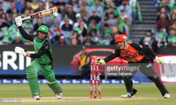 Cameron Bancroft of the Perth Scorchers tries to stump Ben Dunk of the Melbourne Stars at Melbourne Cricket Ground on January 09 2019 in Melbourne...