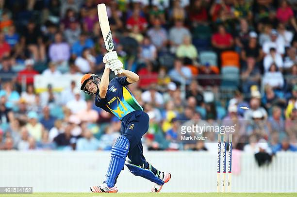 Cameron Bancroft of the PMs XI is bowled during the tour match between the Prime Ministers XI and England at Manuka Oval on January 14 2015 in...
