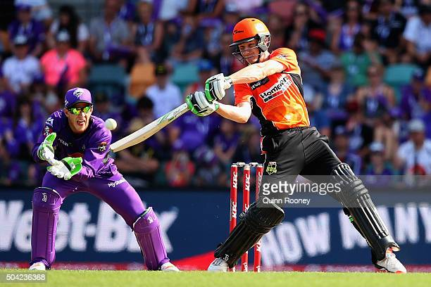 Cameron Bancroft of the Scorchers bats during the Big Bash League match between the Hobart Hurricanes and the Perth Scorchers at Blundstone Arena on...