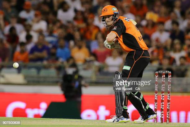 Cameron Bancroft of the Scorchers bats during the Big Bash League match between the Perth Scorchers and the Hobart Hurricanes at WACA on January 20...