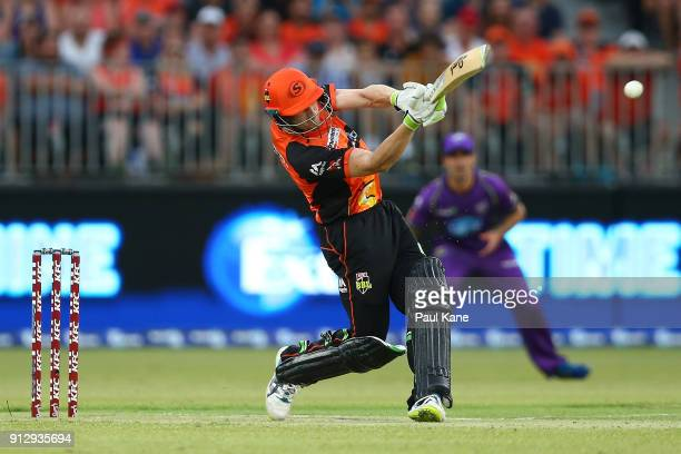 Cameron Bancroft of the Scorchers bats during the Big Bash League Semi Final match between the Perth Scorchers and the Hobart Hurricanes at Optus...