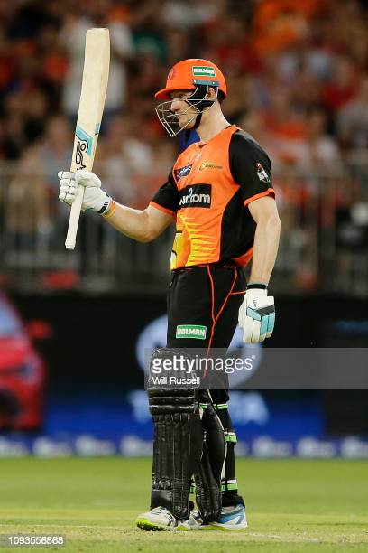 Cameron Bancroft of the Scorchers celebrates after reaching his half century during the Big Bash League match between the Perth Scorchers and the...