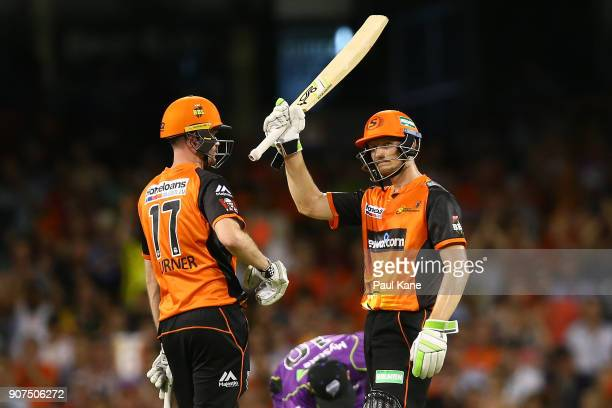 Cameron Bancroft of the Scorchers celebrates his half century during the Big Bash League match between the Perth Scorchers and the Hobart Hurricanes...