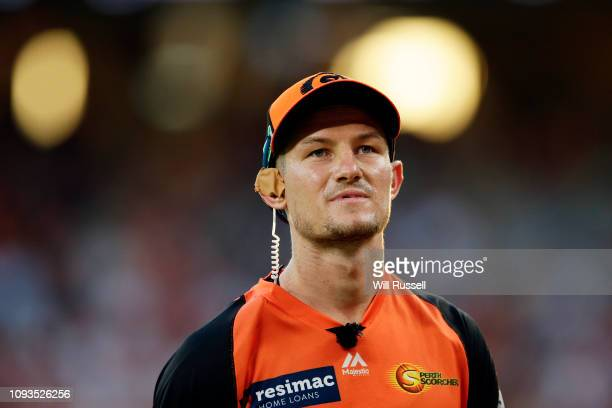 Cameron Bancroft of the Scorchers is mic'd up for TV as he fields during the Big Bash League match between the Perth Scorchers and the Sydney Sixers...