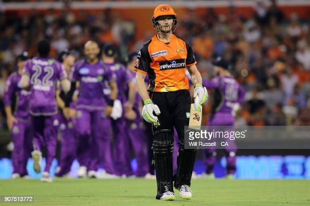 Cameron Bancroft of the Scorchers leaves the field after being dismissed by Tymal Mills of the Hurricanes during the Big Bash League match between...