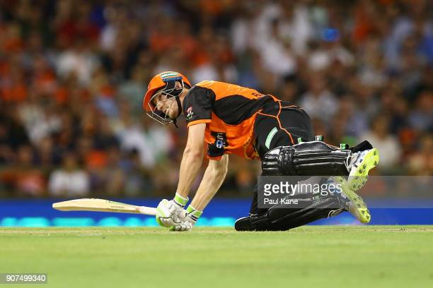 Cameron Bancroft of the Scorchers slips while playing a shot during the Big Bash League match between the Perth Scorchers and the Hobart Hurricanes...