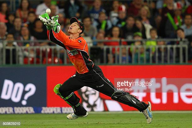 Cameron Bancroft of the Scorchers takes a catch to dismiss Kurtis Patterson of the Thunder during the Big Bash League match between the Sydney...