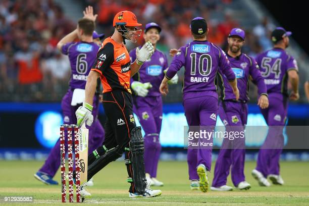 Cameron Bancroft of the Scorchers walks from the field after being dismissed during the Big Bash League Semi Final match between the Perth Scorchers...