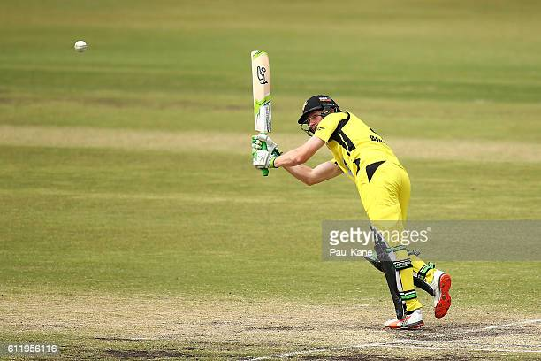 Cameron Bancroft of the Warriors bats during the Matador BBQs One Day Cup match between Western Australia and South Australia at WACA on October 2...
