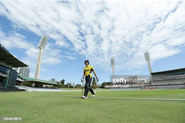 Cameron Bancroft of the Warriors leaves the field after being dismissed by Daniel Worrall of the Redbacks during the Marsh One Day Cup match between...