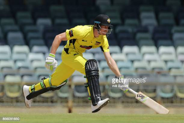 Cameron Bancroft of the Warriors runs for the crease during the JLT One Day Cup match between Victoria and Western Australia at WACA on October 1...