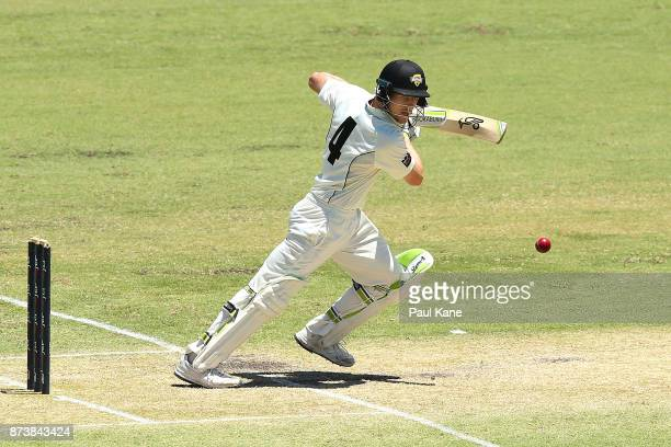Cameron Bancroft of Western Australia bats during day two of the Sheffield Shield match between Western Australia and South Australia at WACA on...