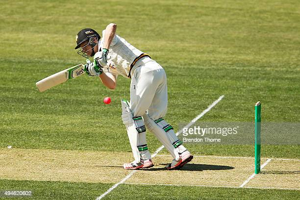 Cameron Bancroft of Western Australia plays a stroke on the leg side during day one of the Sheffield Shield match between Tasmania and Western...