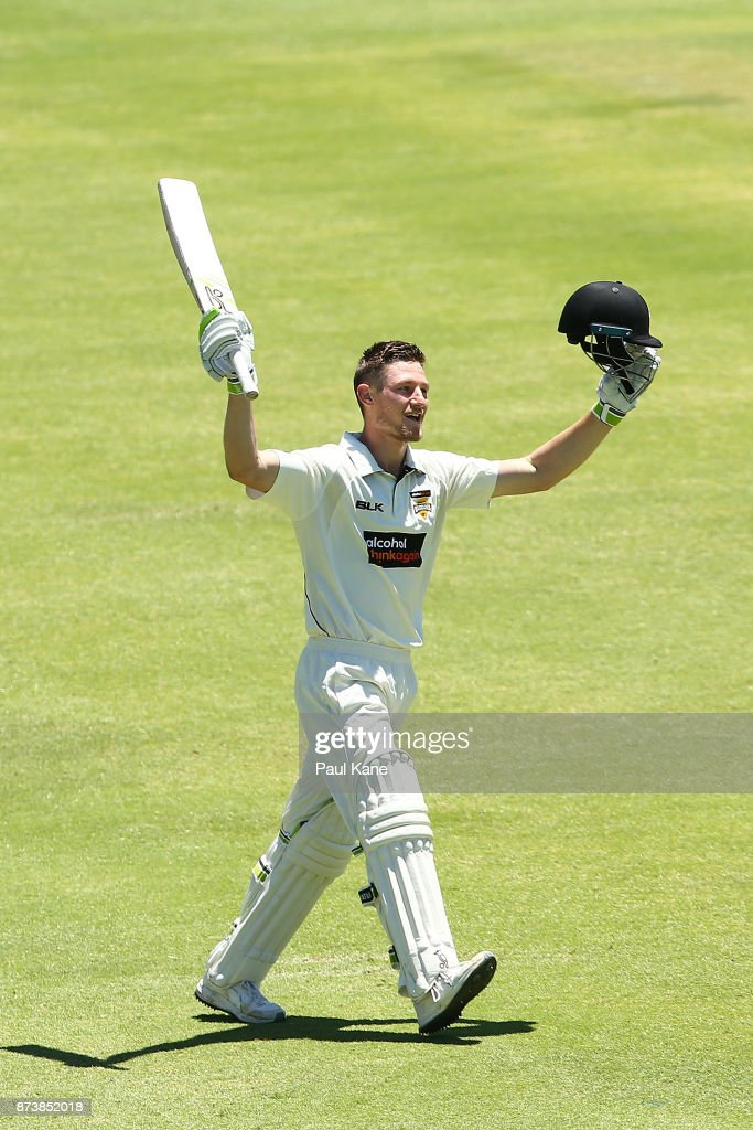 Cameron Bancroft of Western Australia raises his bat to celebrate his double century during day two of the Sheffield Shield match between Western Australia and South Australia at WACA on November 14, 2017 in Perth, Australia.