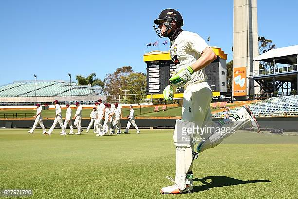 Cameron Bancroft of Western Australia runs out to open the batting during day two of the Sheffield Shield match between Western Australia and...