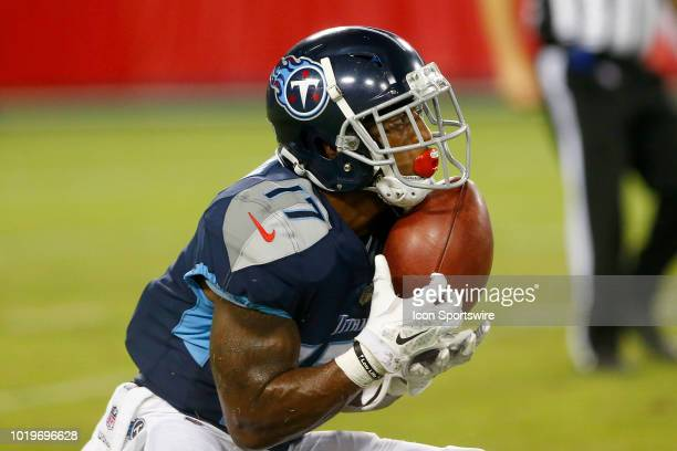 Cameron Batson of the Titans catches a punt during the preseason game between the Tennessee Titans and Tampa Bay Buccaneers on August 18 2018 at...