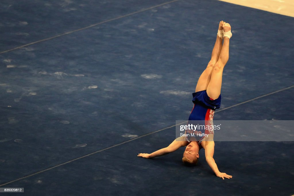 Cameron Bock competes on the Floor Exercise during the P&G Gymnastics Championships at Honda Center on August 17, 2017 in Anaheim, California.
