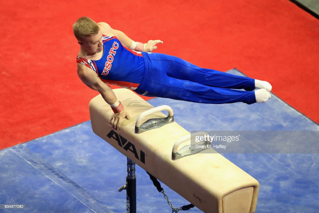 Cameron Bock competes on the Pommel Horse during the P&G Gymnastics Championships at Honda Center on August 17, 2017 in Anaheim, California.