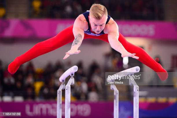 Cameron Bock of United States competes during the Artistic Gymnastics Men's Parallel Bars Final on Day 5 of Lima 2019 Pan American Games at Villa El...