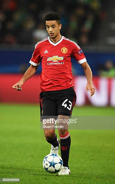 Cameron Borthwick-Jackson of Manchester in action during the UEFA Champions League match between VfL Wolfsburg and Manchester United FC at the...