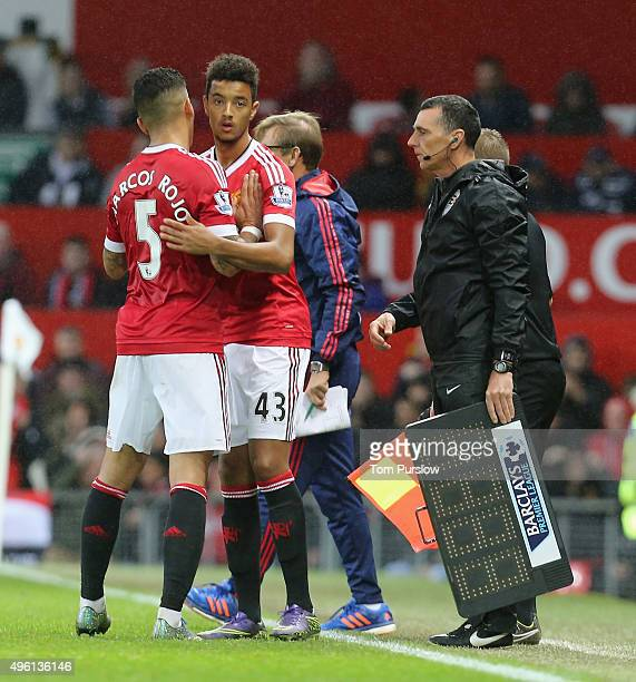 Cameron Borthwick-Jackson of Manchester United comes on as a substitute during the Barclays Premier League match between Manchester United and West...