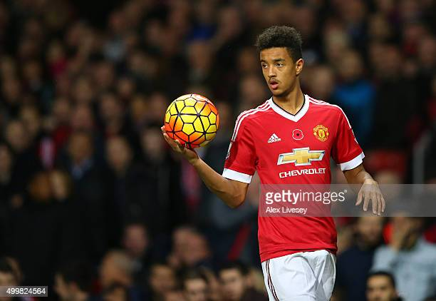 Cameron Borthwick-Jackson of Manchester United during the Barclays Premier League match between Manchester United and West Bromwich Albion at Old...