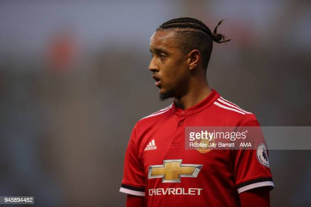 Cameron BorthwickJackson of Manchester United during the Premier League 2 match at Manchester City Football Academy on April 13 2018 in Manchester...