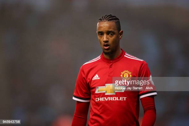 Cameron Borthwick-Jackson of Manchester United during the Premier League 2 match at Manchester City Football Academy on April 13, 2018 in Manchester,...