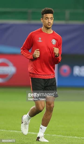Cameron Borthwick-Jackson of Manchester United in action during a first team training session on the eve of their UEFA Champions League match against...
