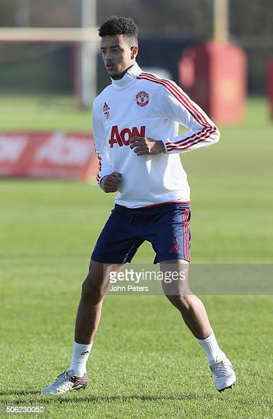 Cameron Borthwick-Jackson of Manchester United in action during a first team training session at Aon Training Complex on January 22, 2016 in...