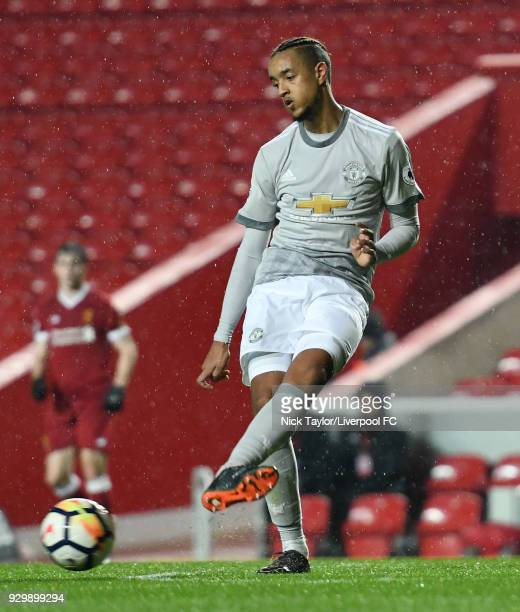 Cameron BorthwickJackson of Manchester United in action during the Premier League 2 match between Liverpool and Manchester United at Anfield on March...