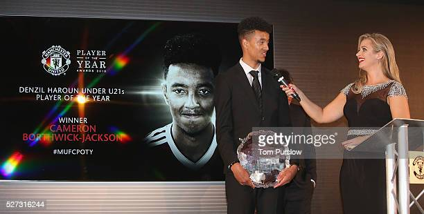 Cameron BorthwickJackson of Manchester United is interviewed by host Hayley McQueen at the club's annual Player of the Year awards at Old Trafford on...