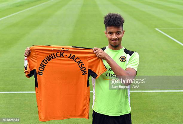 Cameron BorthwickJackson of Manchester United signs a season long loan at Wolverhampton Wanderers at Molineux on August 22 2016 in Wolverhampton...