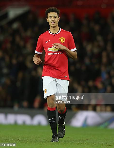 Cameron Borthwick-Jackson of Manchester United U18s in action during the FA Youth Cup Fourth Round match between Manchester United U18s and Hull City...