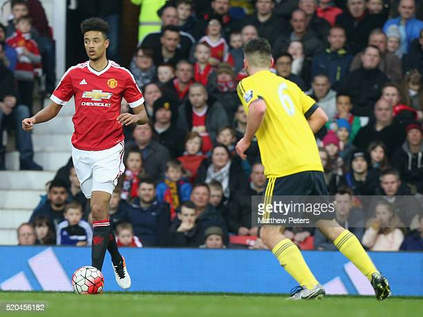 Cameron Borthwick-Jackson of Manchester United U21s in action during the Barclays U21 Premier League match between Manchester United U21s and...