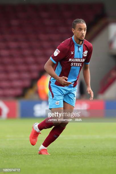 Cameron Borthwick-Jackson of Scunthorpe United during the Sky Bet League One match between Scunthorpe United and Peterborough United at Glanford Park...