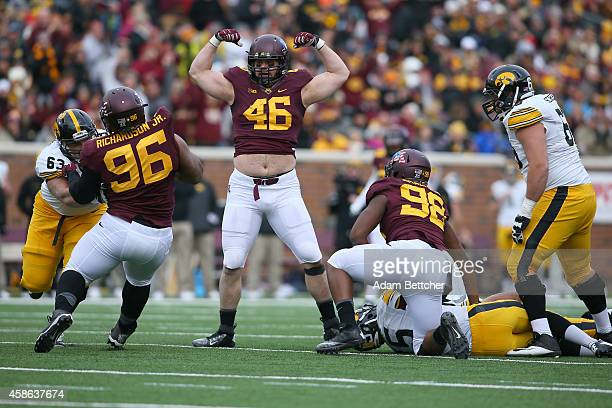 Cameron Botticelli of the Minnesota Golden Gophers celebrates a sack against the University of Iowa Hawkeyes during the third quarter on November 8...