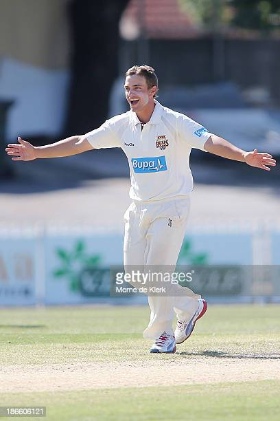Cameron Boyce of the Bulls celebrates one of his wickets during day four of the Sheffield Shield match between the South Australia Redbacks and the...