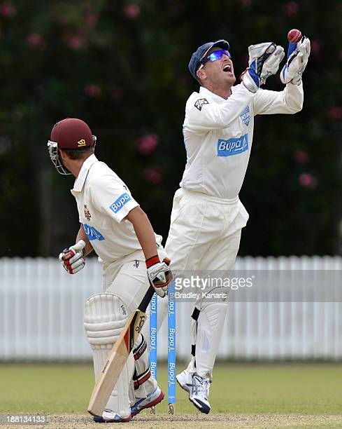 Cameron Boyce of the Bulls is caught behind by Brad Haddin off the bowling of Stephen O'Keefe of the Blues during day four of the Sheffield Shield...