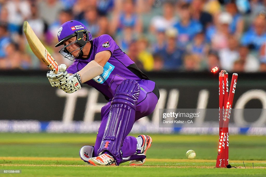 Cameron Boyce of the Hobart Hurricanes is bowled by Chris Jordan of the Adelaide Strikers during the Big Bash League match between the Adelaide Strikers and the Hobart Hurricanes at Adelaide Oval on January 6, 2017 in Adelaide, Australia.