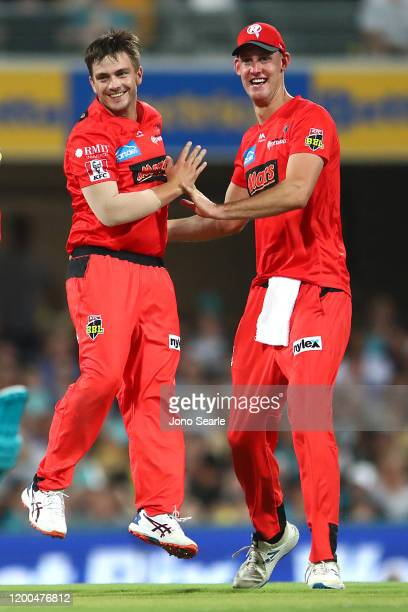 Cameron Boyce of the Renegades celebrates a wicket with team mate Beau Webster during the Bash Bash League match between the Brisbane Heat and...