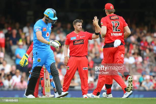 Cameron Boyce of the Renegades celebrates after dismissing Philip Salt of the Strikers during the Big Bash League match between the Melbourne...