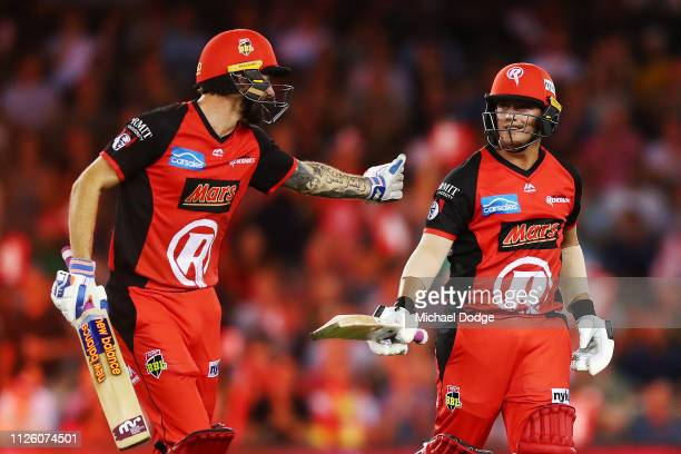 Cameron Boyce of the Renegades celebrates his half century with Kane Richardson of the Renegades during the Big Bash League match between the...