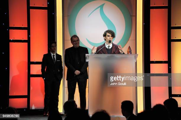 Cameron Boyce speaks onstage during The Thirst Project's 9th Annual Thirst Gala at The Beverly Hills Hotel on April 21 2018 in Beverly Hills...
