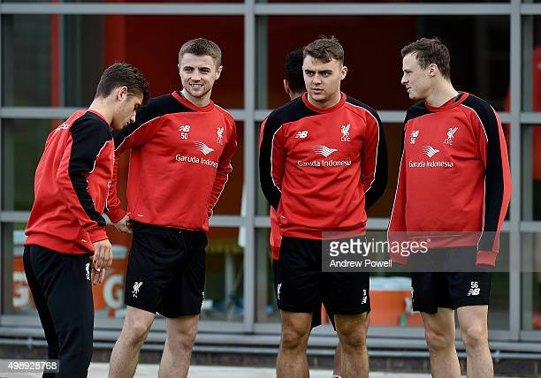 Cameron Brannagan Jordan Rossiter Connor Randel and Brad Smith academy players of Liveprool during a training session at Melwood Training Ground on...