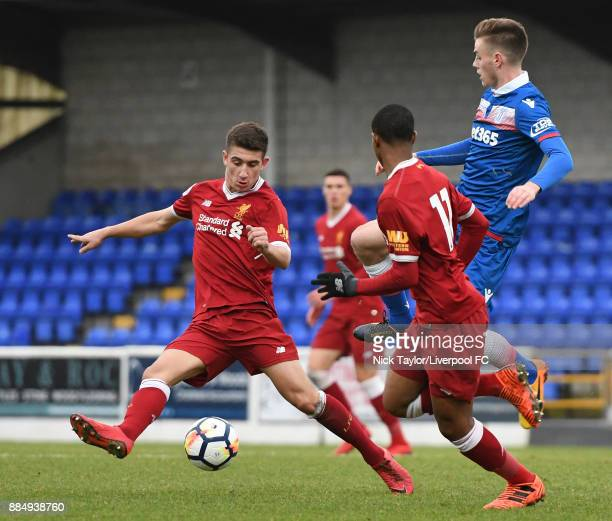 Cameron Brannagan of Liverpool and Daniel Jarvis of Stoke City in action during the Liverpool v Stoke City Premier League Cup game at The Swansway...
