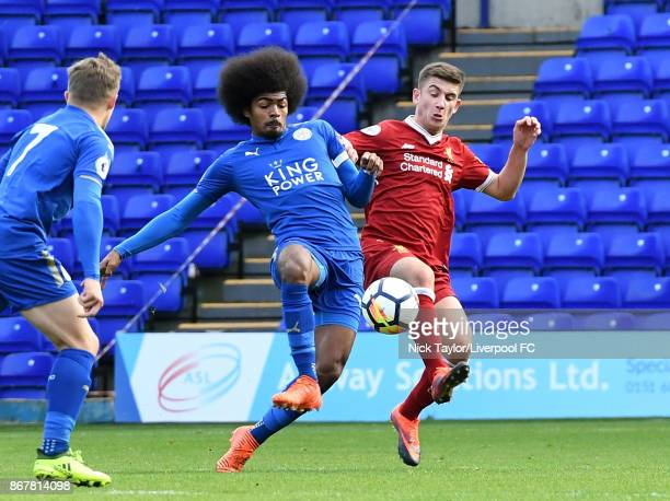 Cameron Brannagan of Liverpool and Hamza Choudhury of Leicester City in action during the Liverpool v Leicester City PL2 game at Prenton Park on...