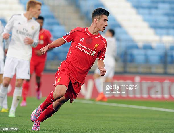 Cameron Brannagan of Liverpool celebrates after scoring the equalising goal during the UEFA Youth League match between Real Madrid CF and Liverpool...