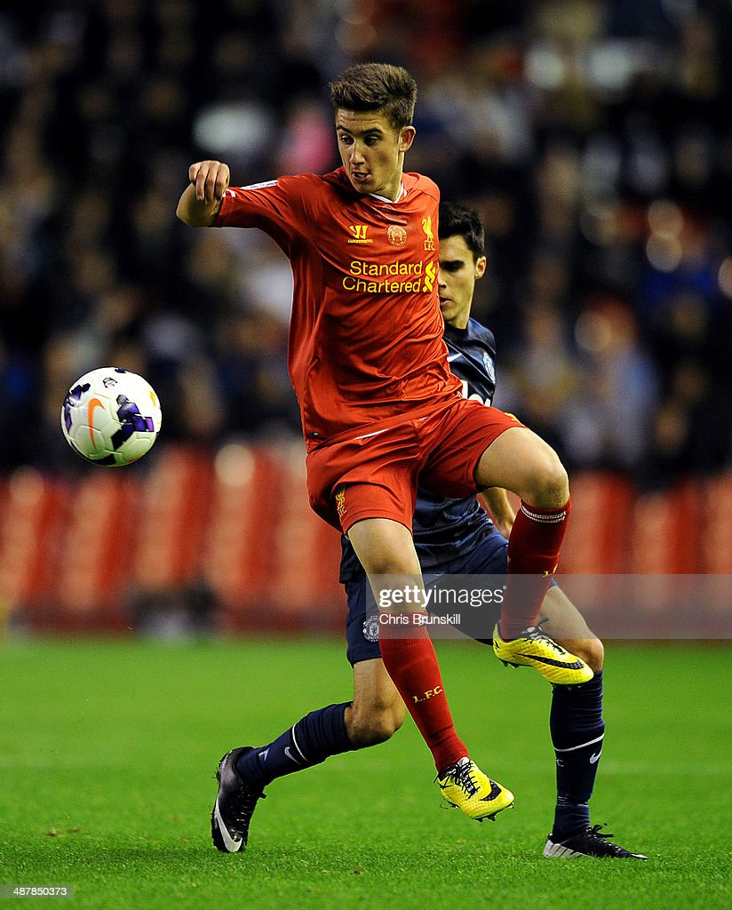 Cameron Brannagan of Liverpool in action during the Barclays U21 Premier League Semi Final match between Liverpool and Manchester United at Anfield on May 02, 2014 in Liverpool, England.