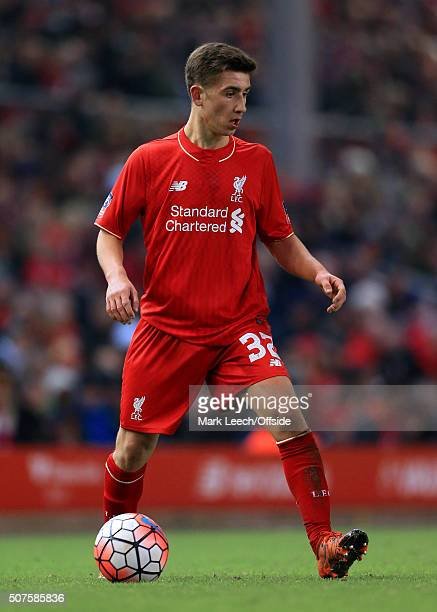 Cameron Brannagan of Liverpool in action during the Emirates FA Cup Third Round Replay match between Liverpool and Exeter City at Anfield on January...